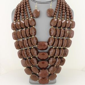 Chocolate Brown Multi-Layer Necklace Set
